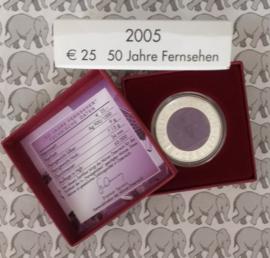 """Oostenrijk 25 euromunt 2005 """"50 jaar televisie"""" (Niob)"""