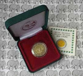 """België 2 euromunt CC 2015 """"Europees Jaar van de Ontwikkeling"""" proof in doosje"""