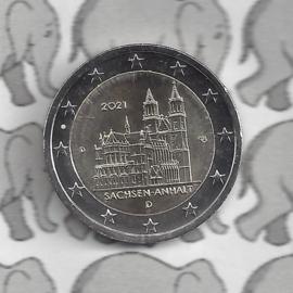 """Duitsland 2 euromunt CC 2021 (25e) """"Saksen-Anhalt (Kathedraal van Maagdenburg)"""" (letter D)"""