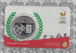 """België 5 euromunt België 2020 """"Team Belgium"""", kleur BU in coincard"""