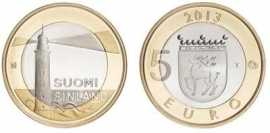 """Finland 5 euromunt 2013 (25e) """"Aland, vuurtoren"""""""