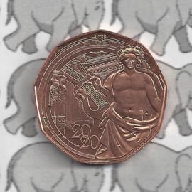 """Oostenrijk 5 euromunt 2020 (37e) """"150 jaar Wiener muziekvereniging"""" (koper)"""