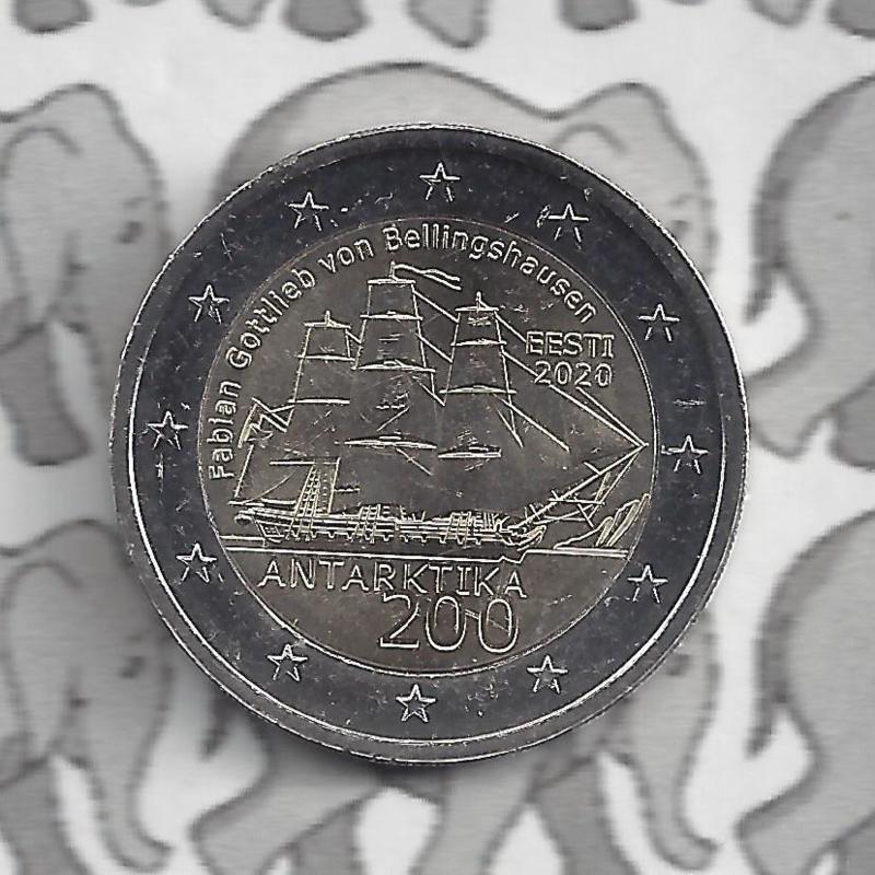 """Estland 2 euromunt CC 2020 (9e)""""200 Jaar na de ontdekking van Antarctica"""""""