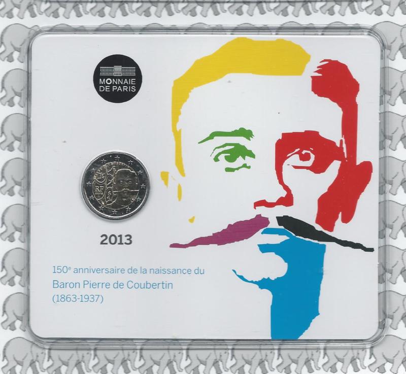"Frankrijk 2 euromunt CC 2013 ""Pierre de Coubertin"" (in blister)"