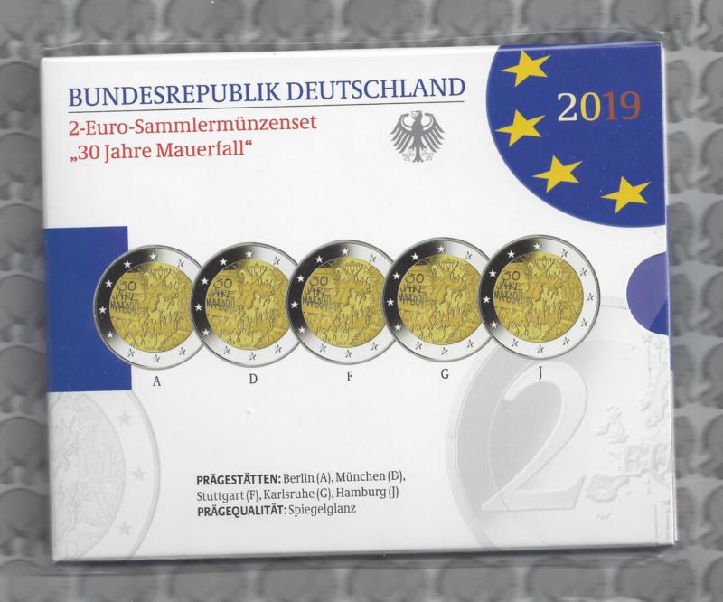 """Duitsland 2 euromunt CC 2019 """"30 jaar na de val van de muur"""" (5 letters) proof"""