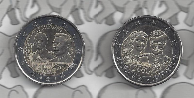 """Luxemburg 2 x 2 euromunt CC 2021 (29e en 30e) """"100e ..."""