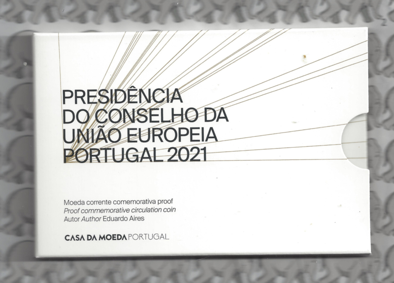 "Portugal 2 euromunt CC 2021 (26e) ""Voorzitter van de EU raad"" proof in blister"
