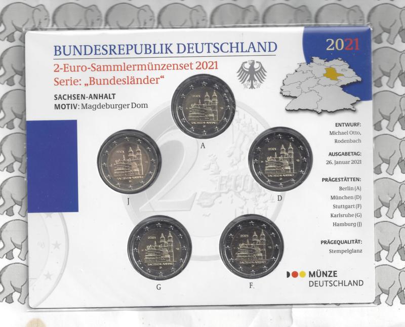 """Duitsland 2 euromunt CC 2021 (25e) """"Saksen-Anhalt (Kathedraal van Maagdenburg)"""" (5 letters) BU in blister"""