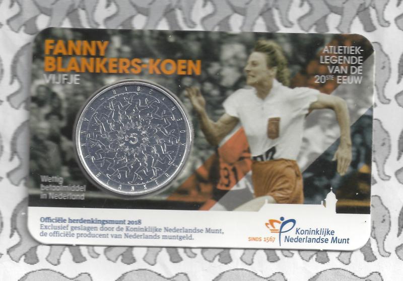 """Nederland 5 euromunt 2018 (38e) """"Fanny Blankers-Koen vijfje"""" (in coincard)"""