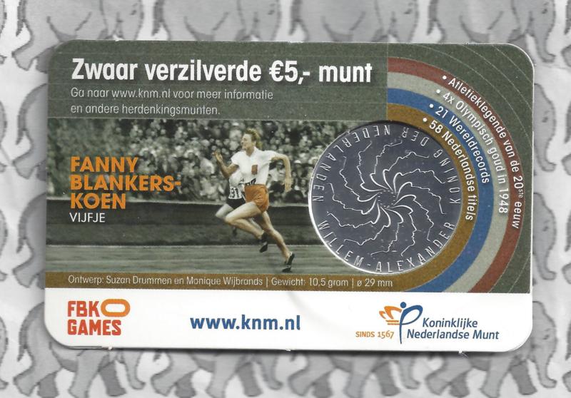 "Nederland 5 euromunt 2018 ""Fanny Blankers-Koen vijfje"" (in coincard)"