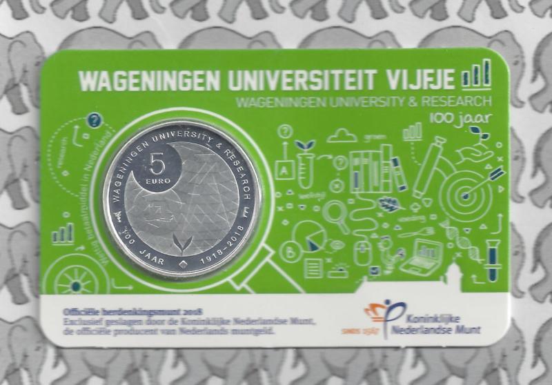 "Nederland 5 euromunt 2018 ""Wageningen Universiteit vijfje"" (in coincard)"