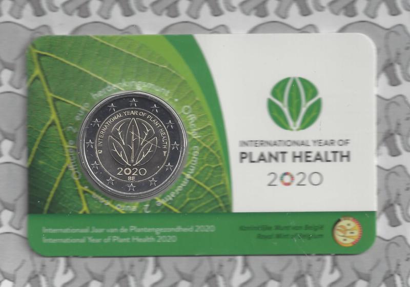 """België 2 euromunt CC 2020 """"Internationaal jaar van de plantengezondheid"""" in coincard Nederlandse versie"""