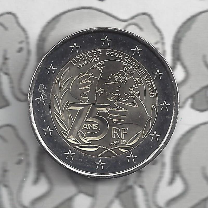 "Frankrijk 2 euromunt CC 2021 (25e) ""75 Jaar Unicef"""