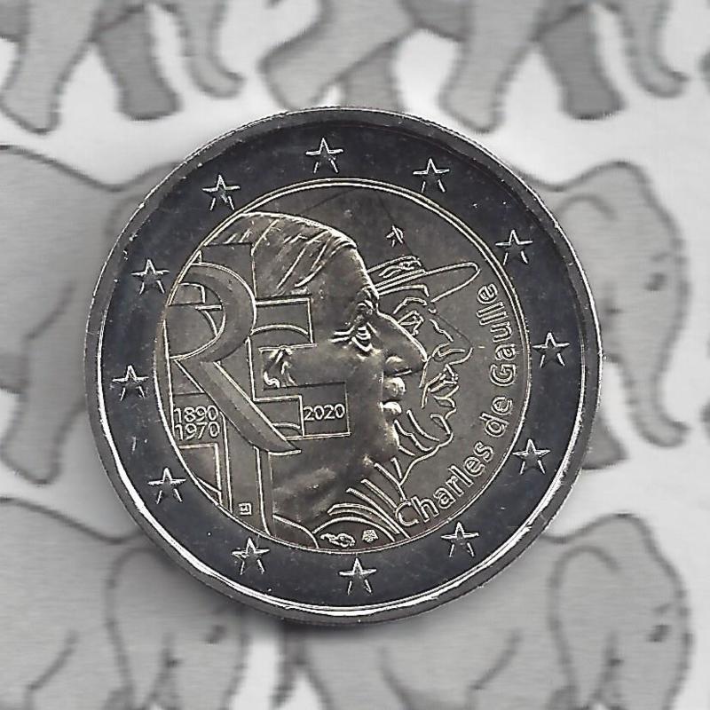 """Frankrijk 2 euromunt CC 2020 (23e)""""50e Sterfdag van Generaal de Gaulle"""""""