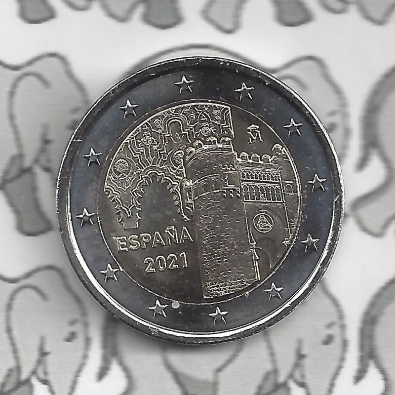 """Spanje 2 euromunt CC 2021 (19e) """"Historische stad Toledo"""""""