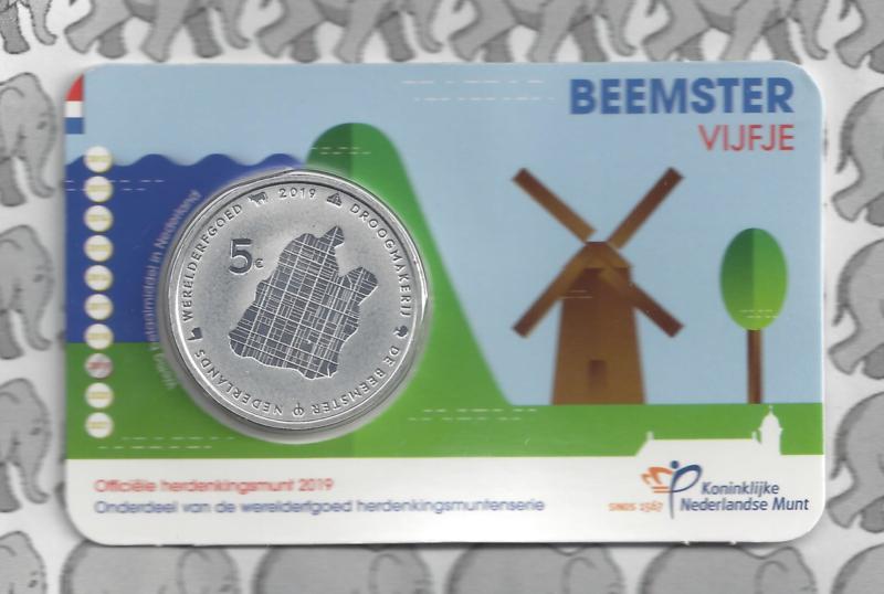 """Nederland 5 euromunt 2019 (42e) """"Beemster vijfje"""" (in coincard)"""