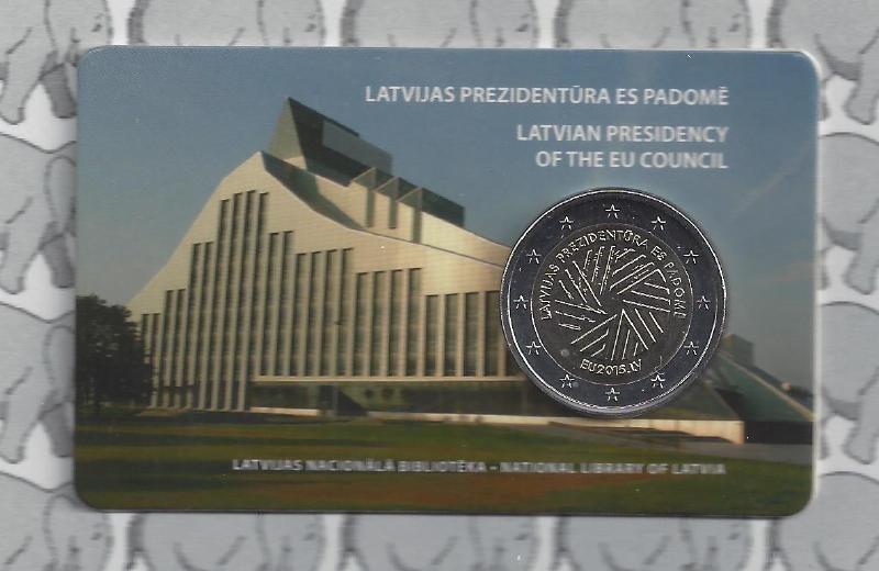 "Letland 2 euromunt CC 2015 ""Voorzitterschap Europese Unie"" in coincard"