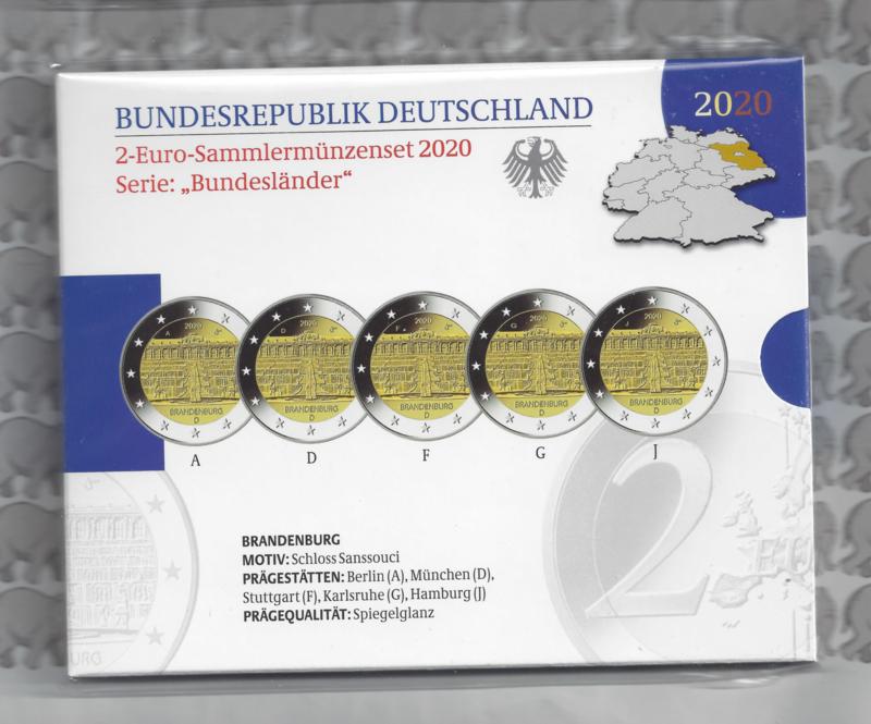 """Duitsland 2 euromunt CC 2020 """"Slot Sanssouci (Brandenburg"""" (5 letters) proof"""