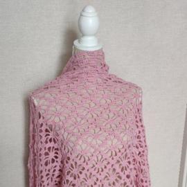 Roze Wollen Omslagdoek Glitter