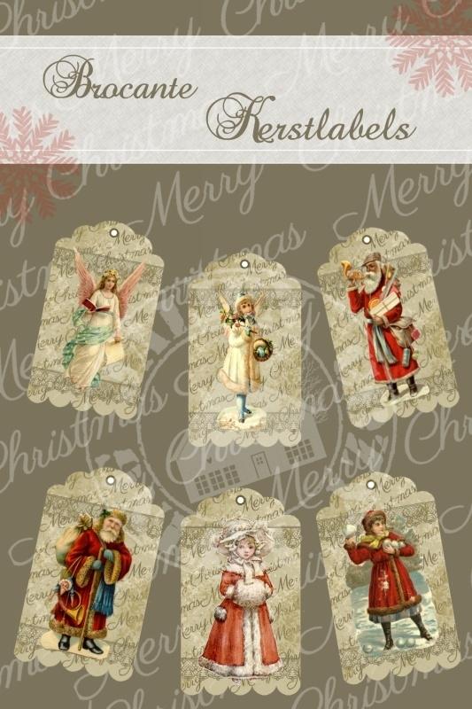 Brocante Kerstlabels (PDF zelf printen)