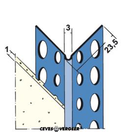 1031 hoekbeschermer RVS (1mm) 2,60mtr (25 lgt)