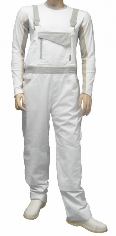 Be-Wear Amerikaanse overall wit/grijs
