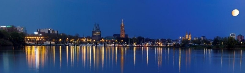 Skyline Roermond by night - Canvas