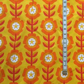 Bloemen geel jersey 150x58 cm.
