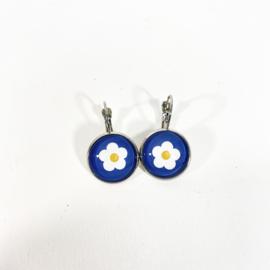 Klapoorbellen  wit bloemetje blauw