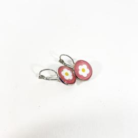 Klapoorbellen  wit bloemetje roze