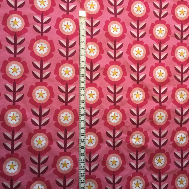 Bloemen roze jersey 150x40 cm.