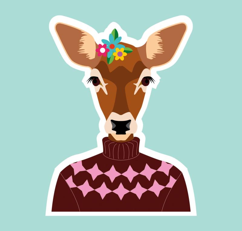 Vinyl sticker Hert met trui