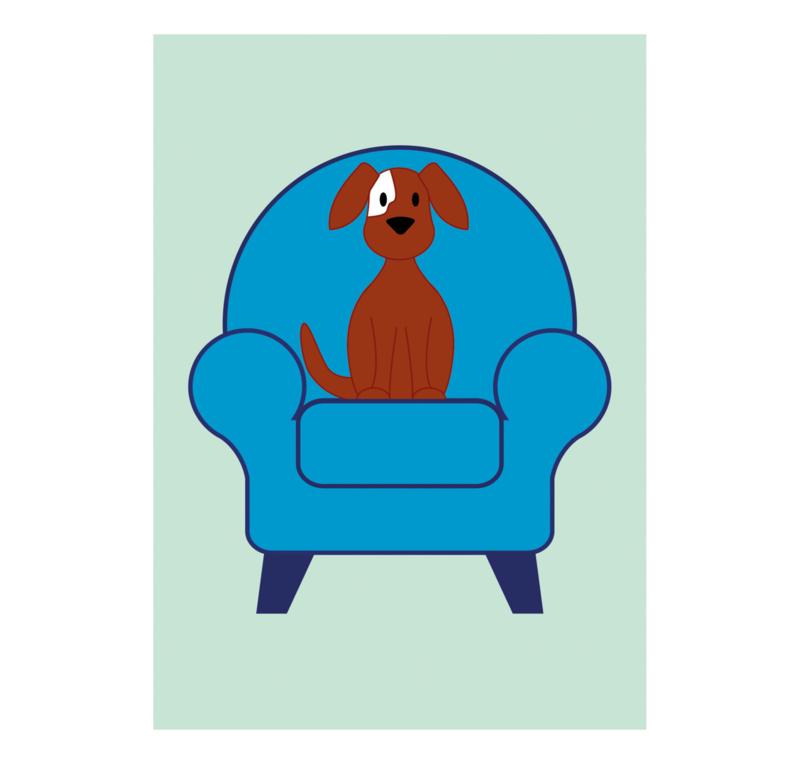Hondje op een stoel