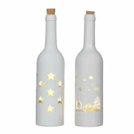 FLES WIT MET 5 LED-LAMPJES, 2 ASSORTI