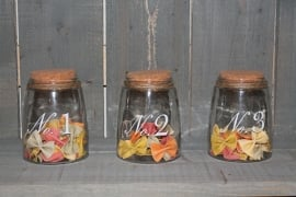 Glazen voorraadpotten set van 3
