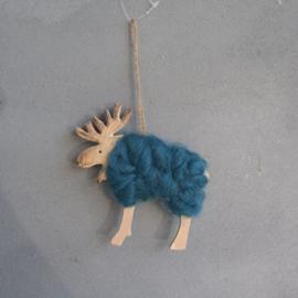 Rendier kerst hanger wol blauw