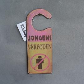 Teksbord label Jongens Verboden