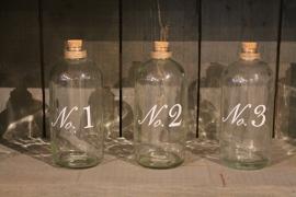 Glazen voorraadflessen set van 3