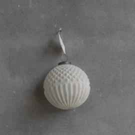 Glazen bal 10 cm marble white