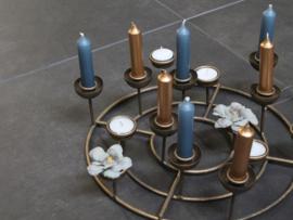 Waxine - en kaarsenstandaard rond metaal goudkleur