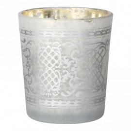 Waxinelichthouder glas wit