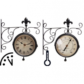 Stationsklok met thermometer Esschert Design