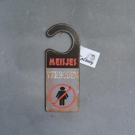 Tekstbord label Meisjes Verboden