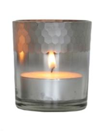 Waxinelichthouder glas Silver Smoke