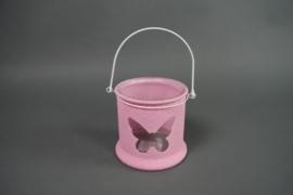 Windlicht Glas Roze Vlinder