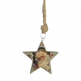 Houten Hanger Kerstman Ster