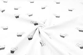 Hydrofiel doek 100% cotton kleur 1561 beertjes ecru    5 meter voor