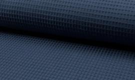 Wafelkatoen 100% katoen kleur Dark  Jeans   Art WF0186-007    - 1 meter voor