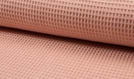 Wafelkatoen 100% katoen kleur  Dusty salmon   art WF0186-033    - 1 meter voor