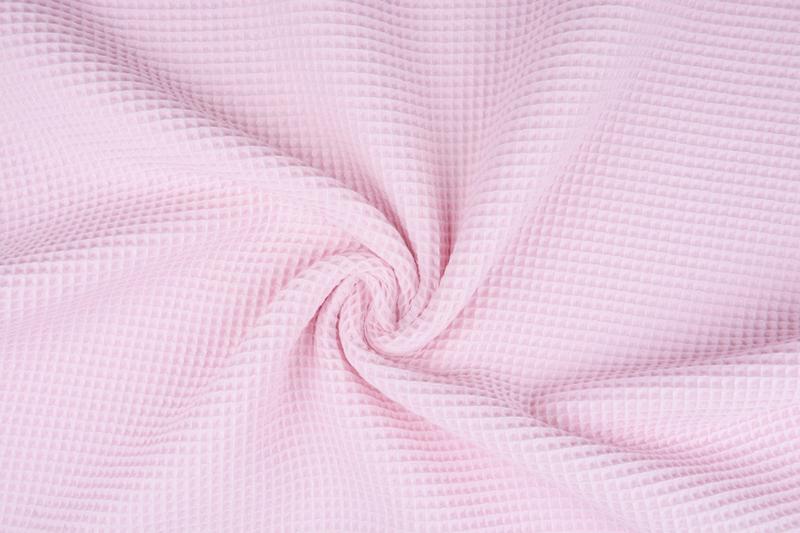 Wafelkatoen soepel Kleur  zacht roze  € 5,95 per meter. Art WF7